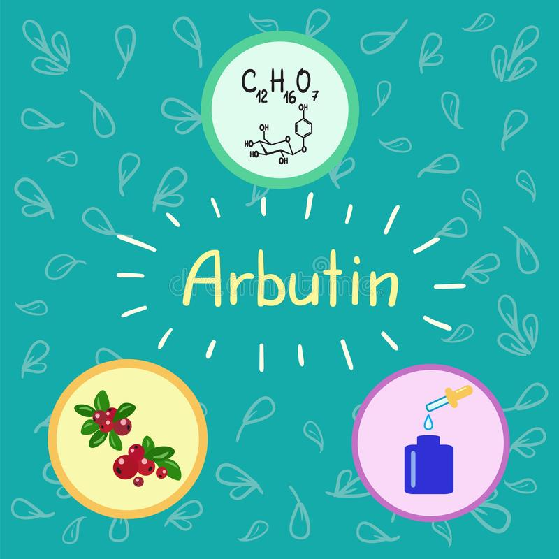 Colored Bottle Of Cream With The Arbutin Berries Bearberry And Cowberry Chemical Formula Graphical Scheme Print For Labels