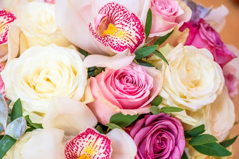 Colored bouquets of flowers, close up stock photo