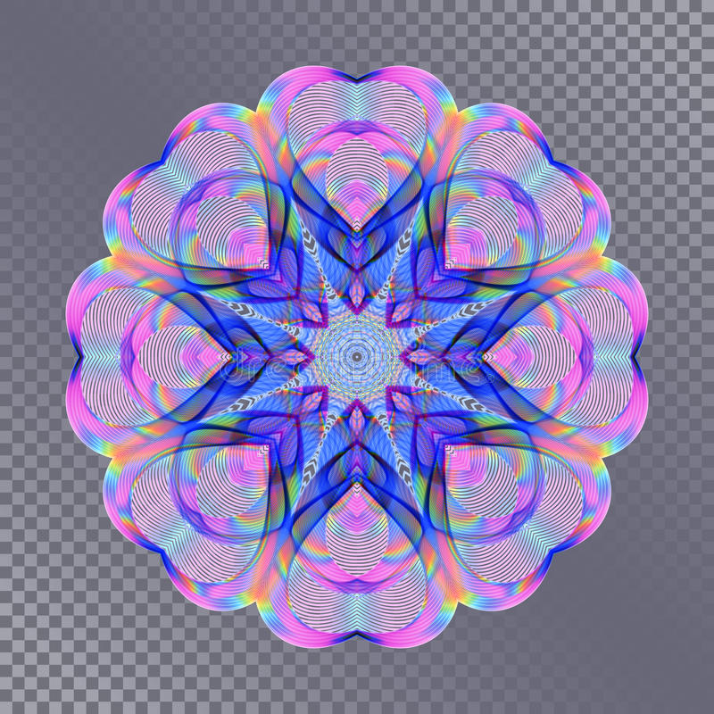Colored Bright Rainbow Decoration on Transparent Background. Universal Abstraction with Holographic Effect royalty free illustration