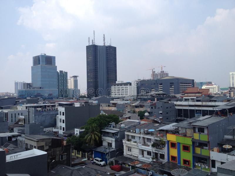 Colored building in Jakarta, capital of Indonesia royalty free stock images