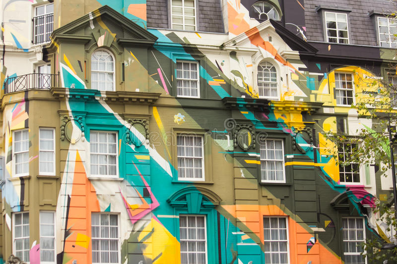 Colored building. In London, near St Pancras Station royalty free stock photo