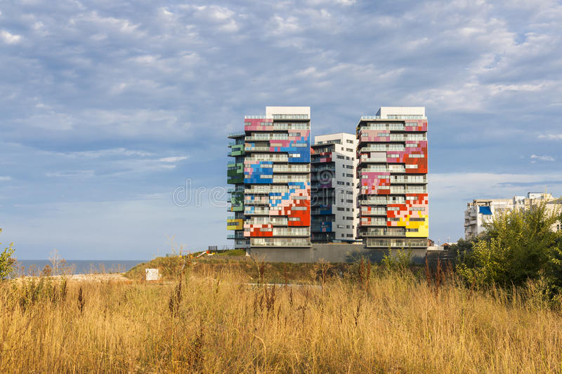 Colored Buildings Stock Photography