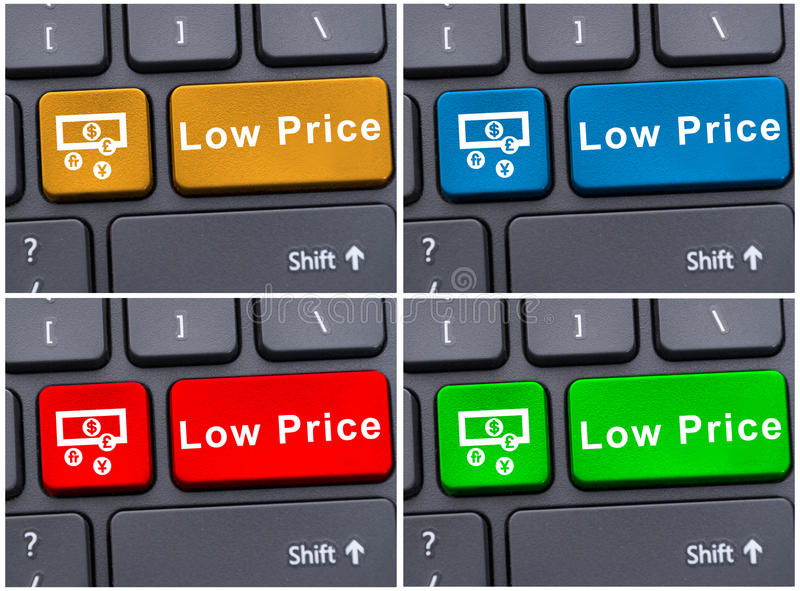 Colored buttons with low price message. As reduction or sales concept stock photography