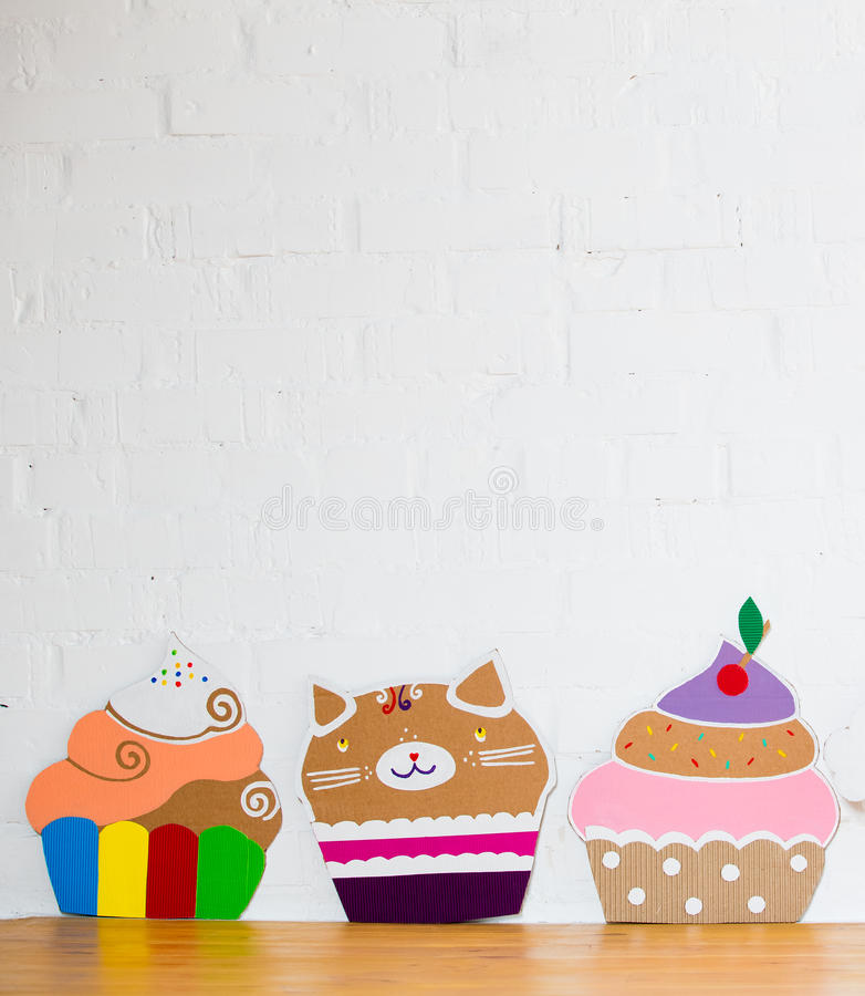 Colored cakes handmade of paper royalty free stock photography