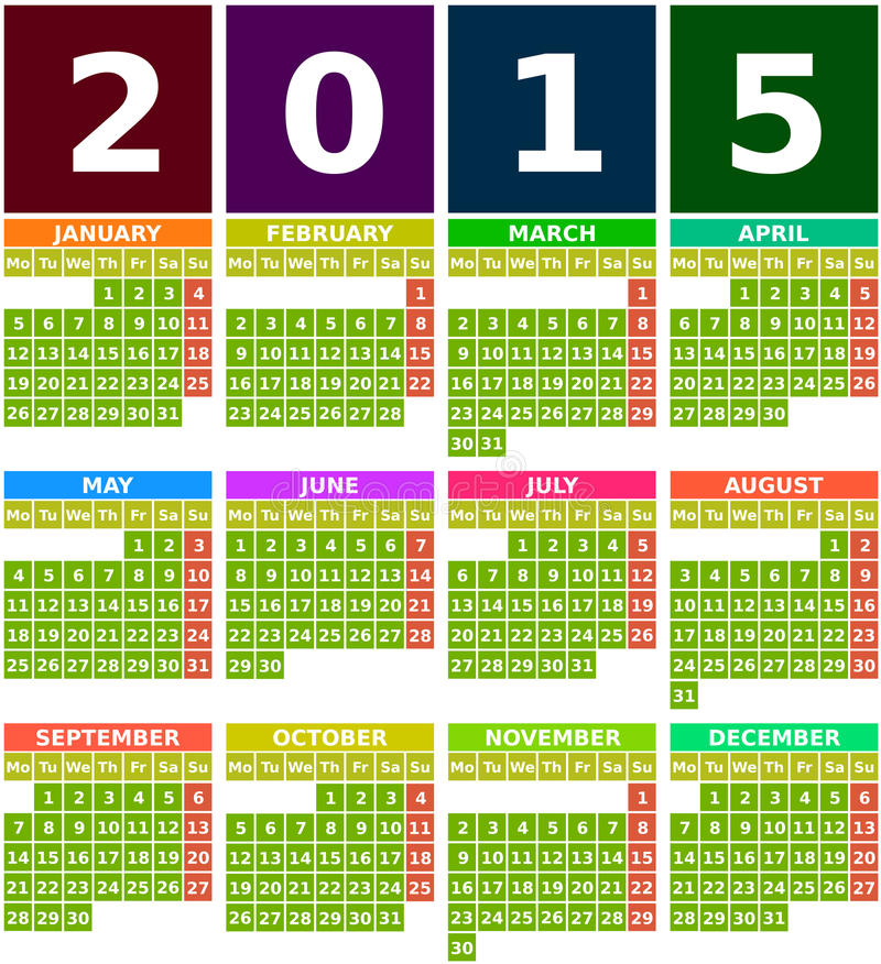 Calendar Design Using Photo : Colored calendar in flat design with simple square