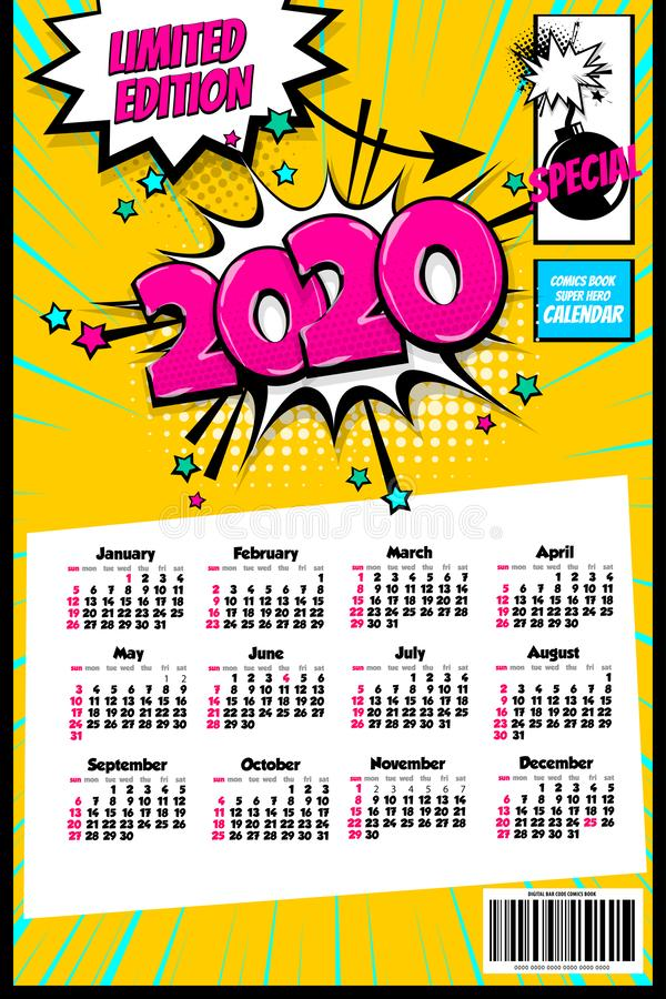 2020 colored calendar pop art vector style stock illustration