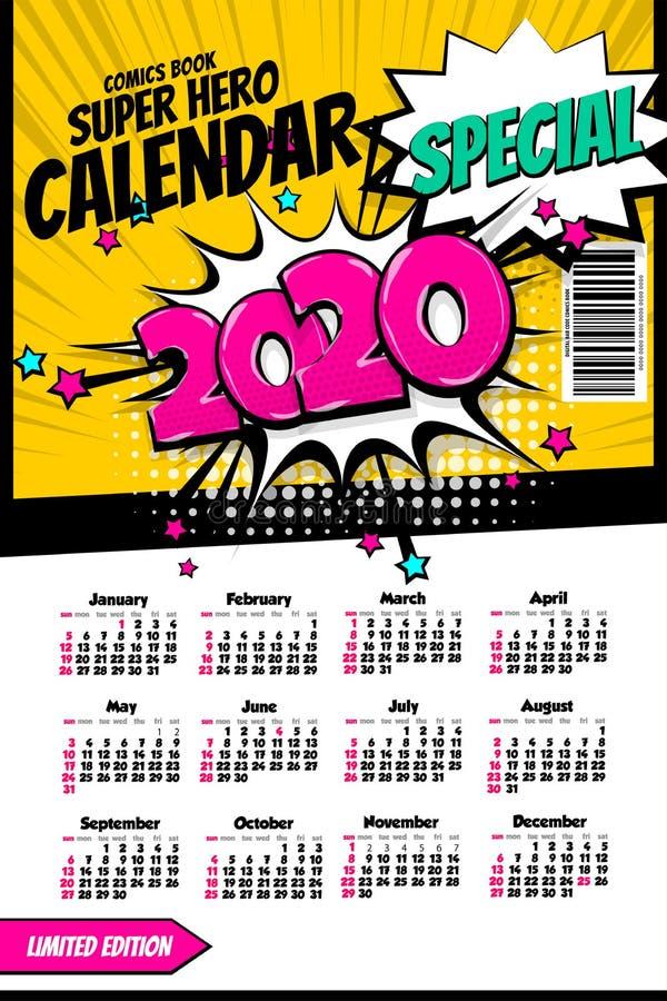 2020 colored calendar pop art vector style stock photos
