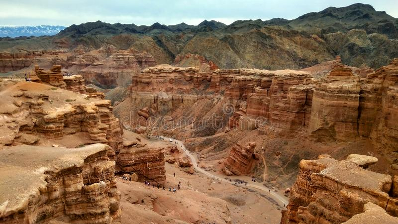 COLORED CANYON, WARM TONE. CLOUDY SKY. royalty free stock images