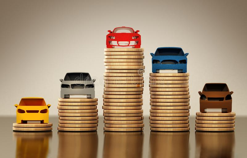 Colored car silhouettes standing on gold coin stacks. 3D illustration stock illustration