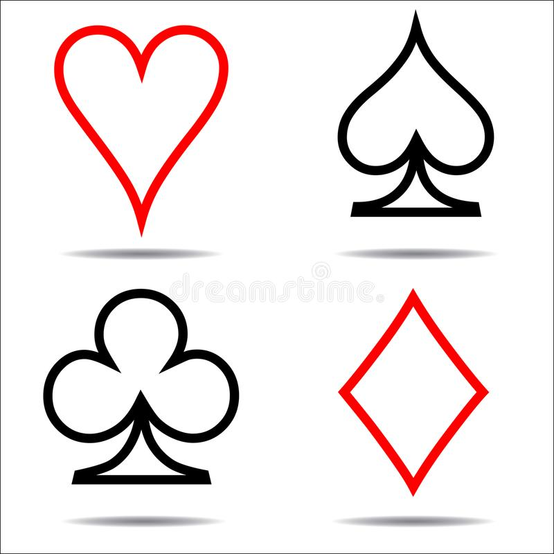 Colored Card Suit Icon Vector Playing Cards Symbols One Line Stock