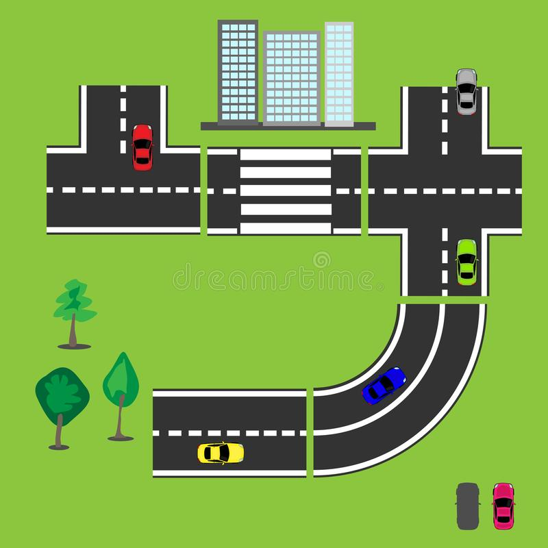 Colored cars and parts of the road to create a picture. Multi-storey houses and trees. vector illustration