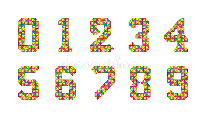 Cartoon Isolated tiles numbers set. Vector set of 1-9 digit baby icons. Colorful numeral alphabet. 3d bright digits. Colored cartoon Isolated tiles numbers set royalty free illustration