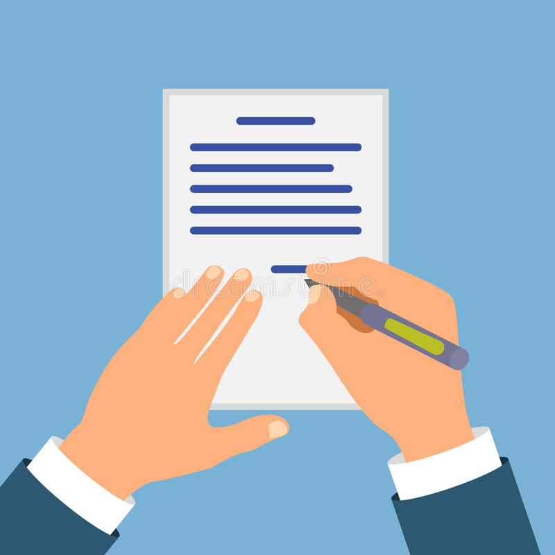 Colored Cartooned Hand Signing Contract royalty free illustration