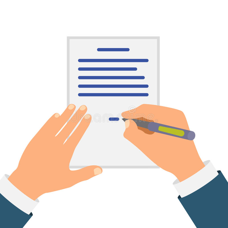 Colored Cartooned Hand Signing Contract. Graphic Design on White Background stock illustration