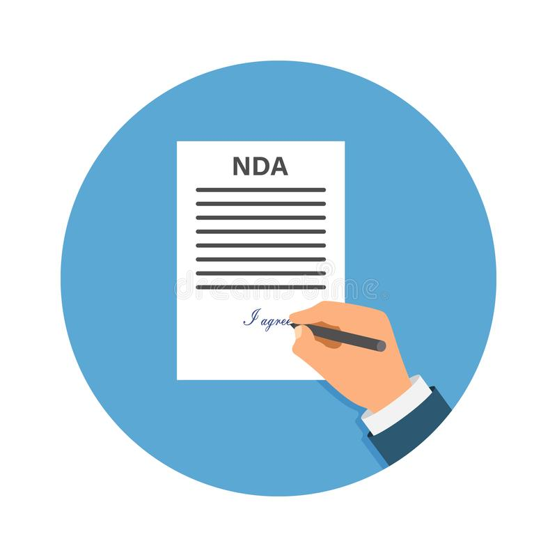 Colored Cartooned Hand Signing NDA. Contract Signed document. NDA concept. Secret files. Stock vector illustration vector illustration
