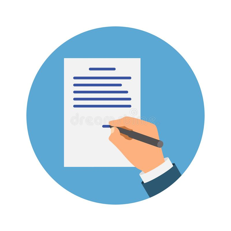 Colored Cartooned Hand Signing NDA. Contract Signed document. NDA concept. Secret files. royalty free illustration