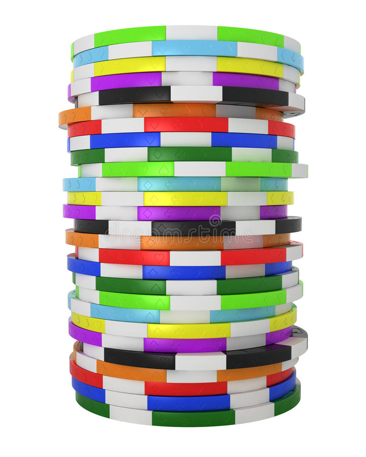 Colored Casino or roulette chips stack isolated stock illustration