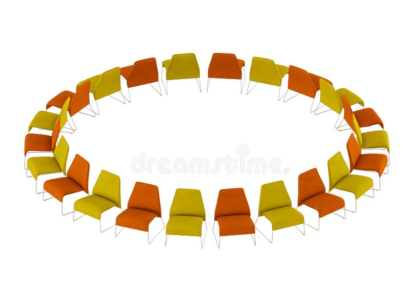 Colored chairs stand in a circle on a white background 3d rendering stock illustration
