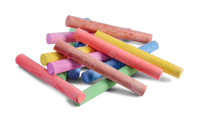 Colored chalks on white. royalty free stock photo