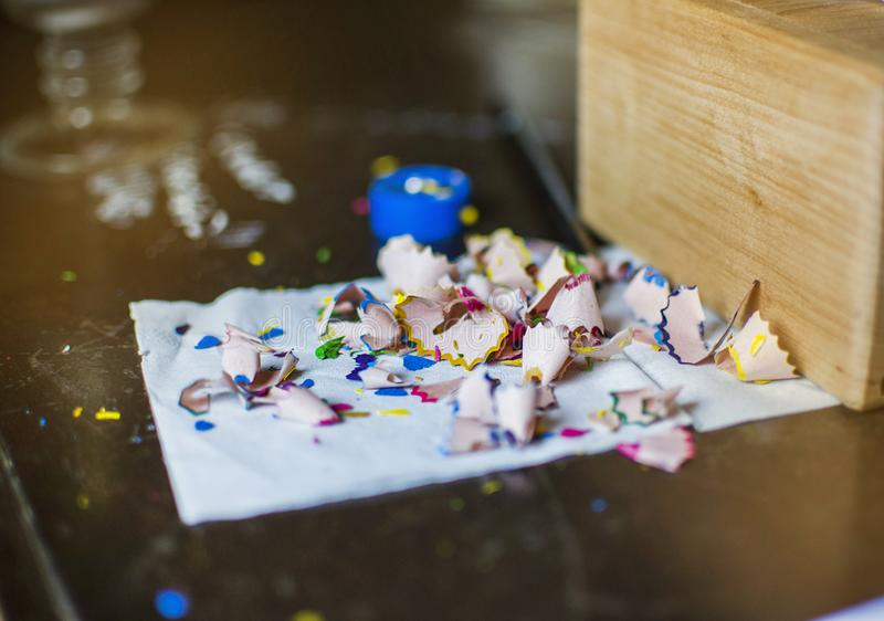 Multicolored shavings from pencils royalty free stock photos