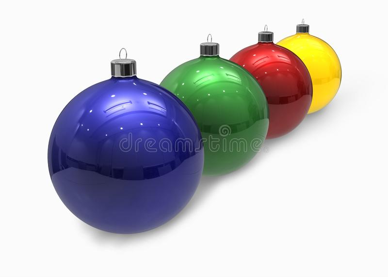 Colored christmas balls. Red, blue, green and yellow christmas balls isolated on a white background (christmas decoration royalty free illustration