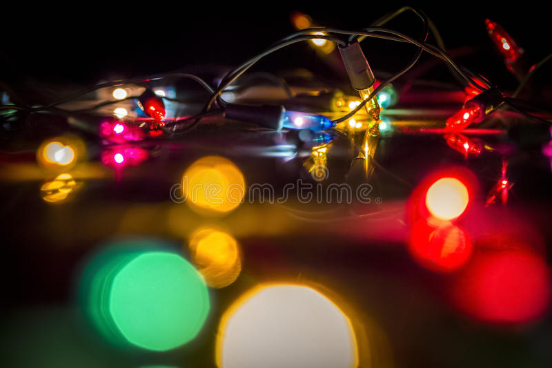 Colored Christmas lights. Close-up as an abstraction stock photo