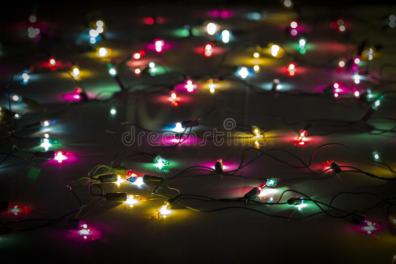 Colored Christmas lights. Close-up as an abstraction stock images