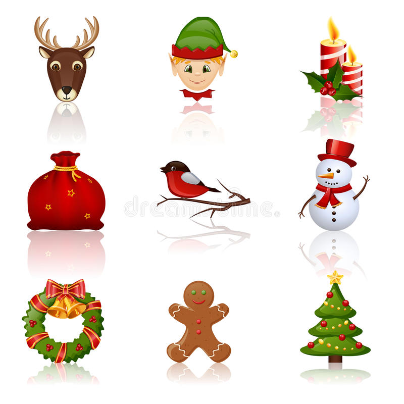 Colored Christmas and New Year icons. Vector illustration. royalty free illustration