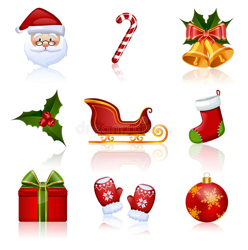 Colored Christmas and New Year icons. Vector illus royalty free illustration