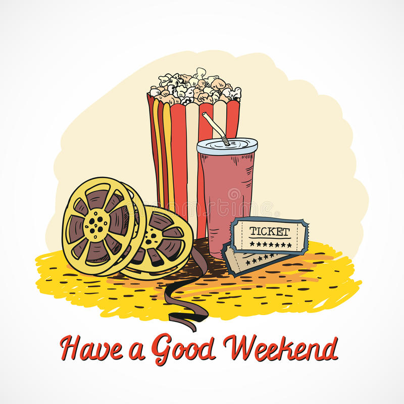 Colored cinema weekend concept. Colored cinema have a good weekend concept with popcorn drink cinema strip tickets doodle elements vector illustration royalty free illustration