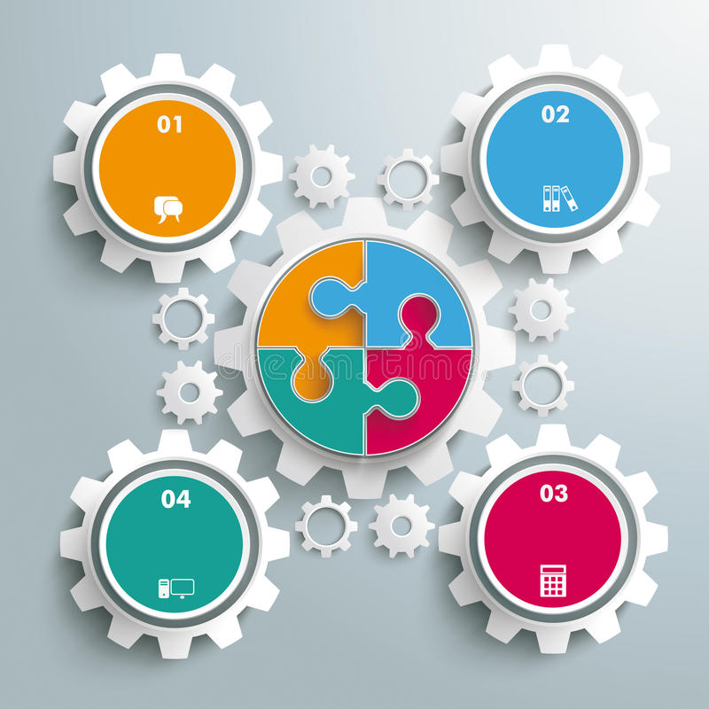 Colored Circle Puzzle Big Gear Machine. Colored circle puzzle with gears infogrpahic on the grey background stock illustration