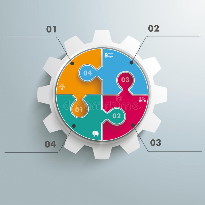 Colored Circle Puzzle Gear Infographic. Colored circle puzzle with gear infogrpahic on the grey background stock illustration