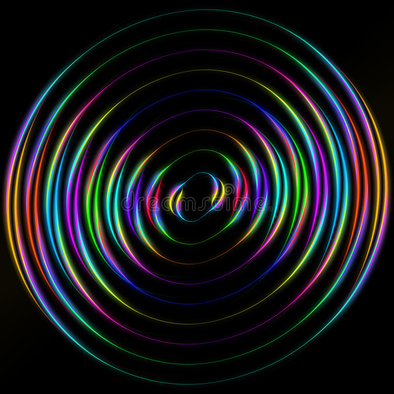 Colored circles on a black background royalty free illustration