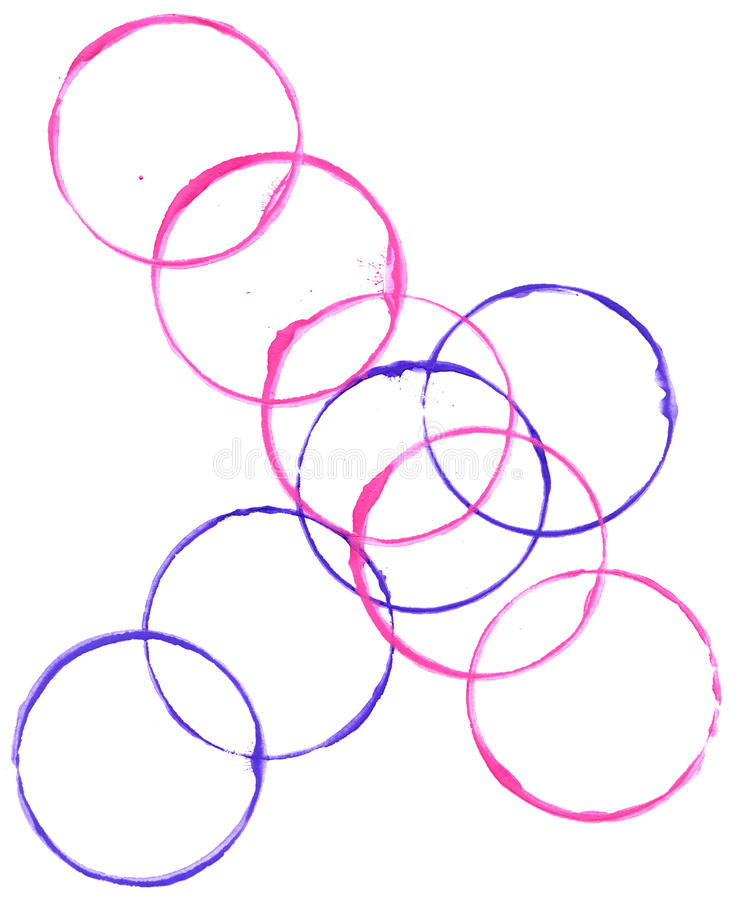 Colored circles made with paint. On a white background stock illustration