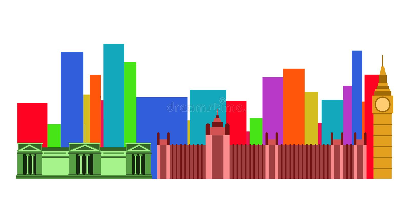 Colored cityscape of London stock illustration