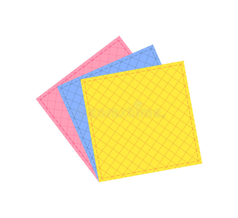 Colored cleaning cloths isolated vector icon. Colored cleaning cloths isolated icon in flat style. House cleaning tool, housework supplies vector illustration vector illustration