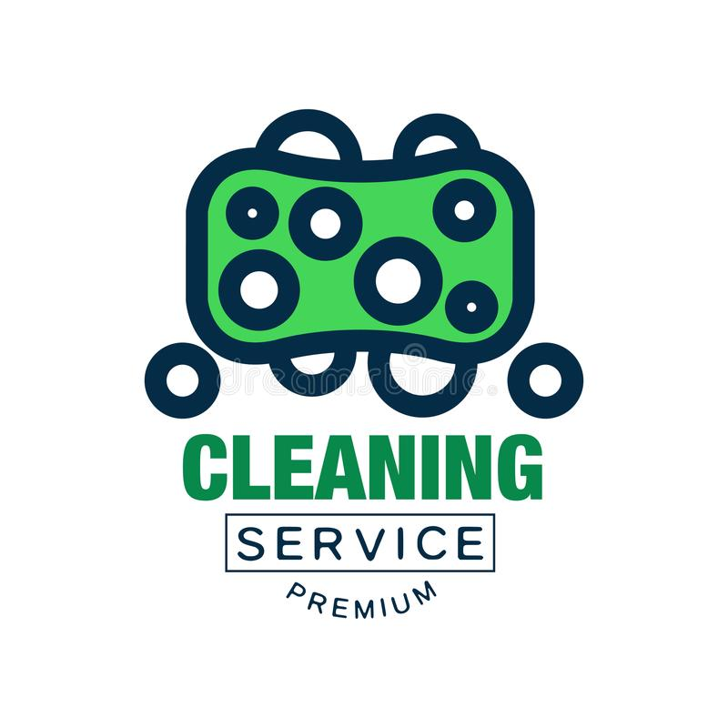 Colored cleaning logo, badge, emblem or label in line style. Green washing sponge icon. Flat vector element for company stock illustration