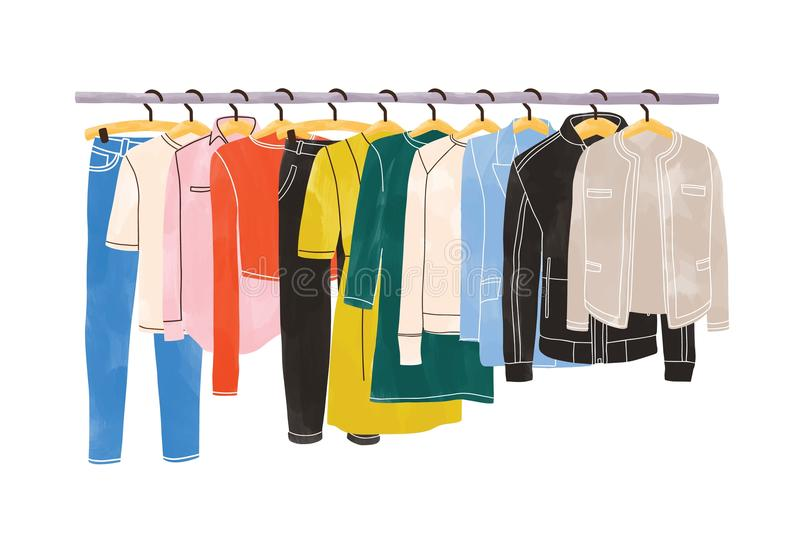 Colored clothes or apparel hanging on hangers on garment rack or rail isolated on white background. Clothing. Organization or storage. Inner space of closet or royalty free illustration