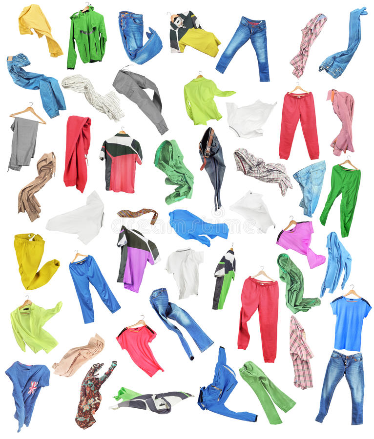 Colored clothes in falling stock illustration