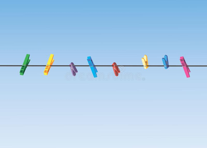 Colored clothes pins on a clothes line rope. 10 eps vector illustration