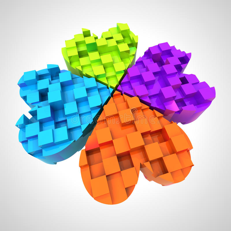 Download Colored Cloverleaf In Three Dimensional Composition Stock Illustration - Image: 28845503