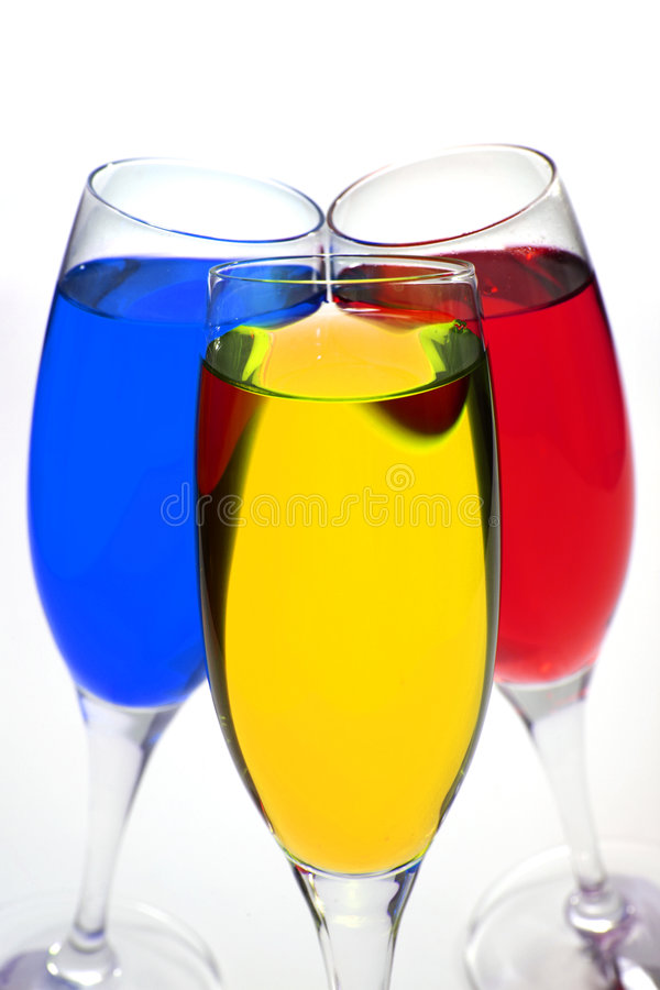 Colored cocktail over white royalty free stock photos