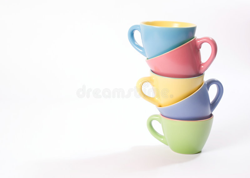 Colored coffee cups royalty free stock photos