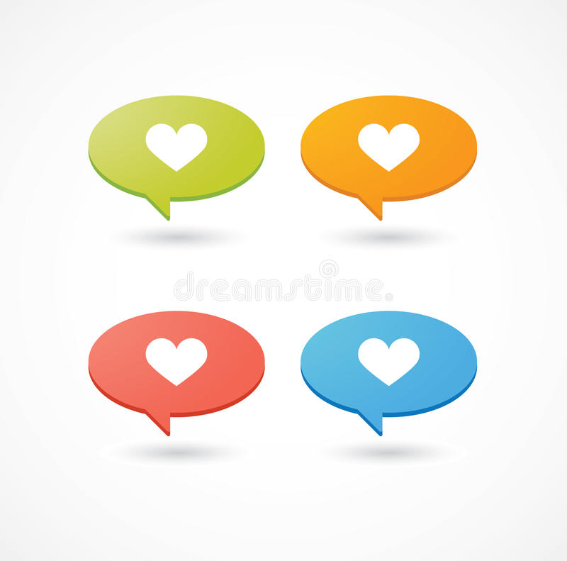 Colored comic balloons with heart icon. A set of colored comic balloons with heart icon vector illustration