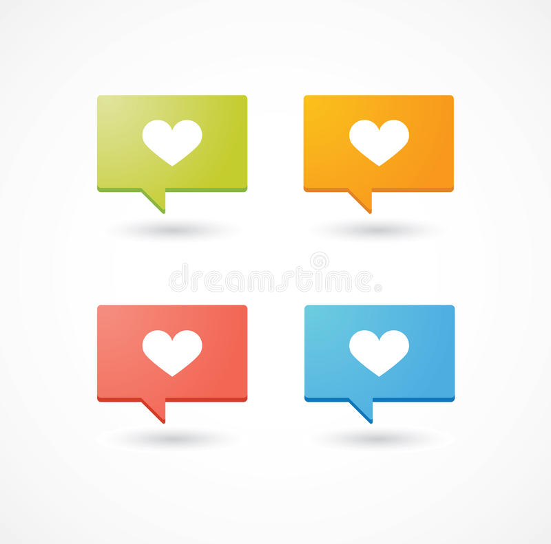 Colored comic balloons with heart icon. A set of colored comic balloons with heart icon royalty free illustration