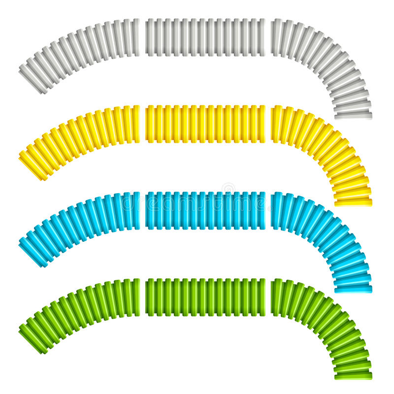 Colored corrugated flexible tubes. Illustration for the web royalty free illustration