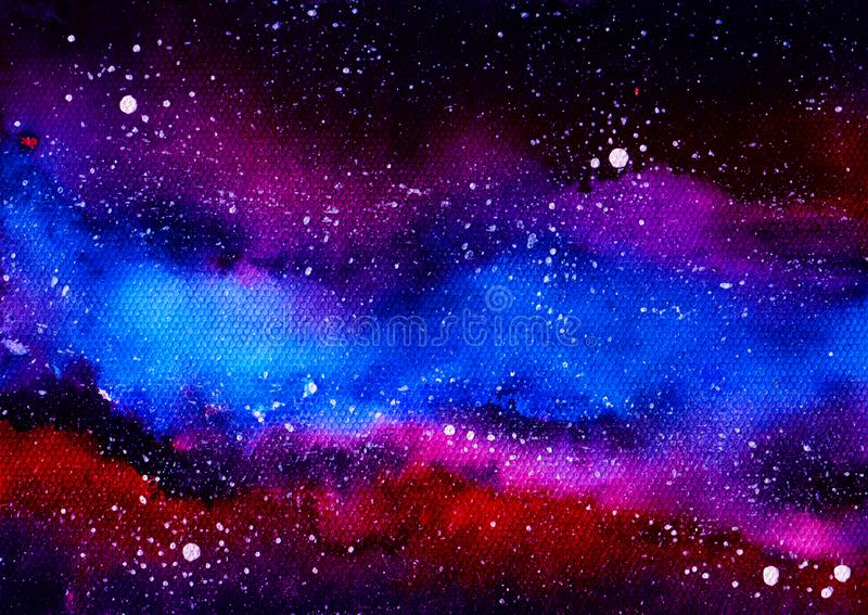 Colored cosmic sky with bright stars and dark clouds. Watercolor illustration royalty free illustration