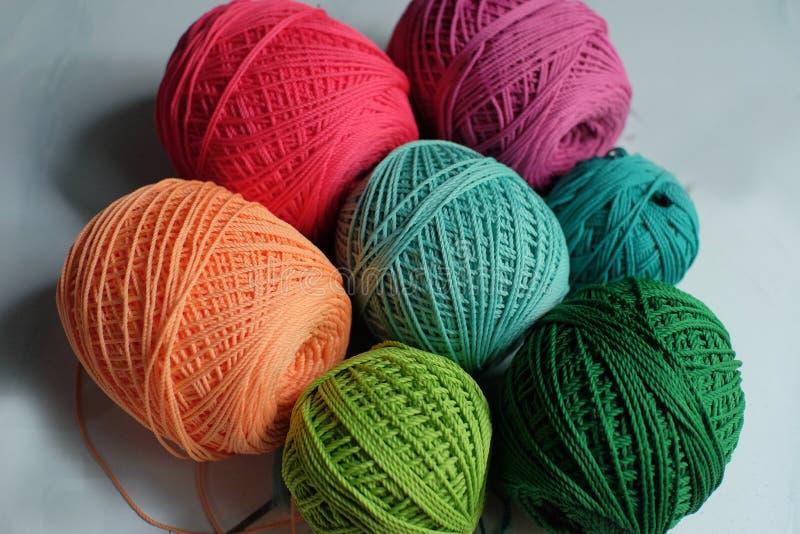 Colored cotton yarn reels handicraft materials. Colored cotton yarn reels that are used as knitted handicraft materials stock image