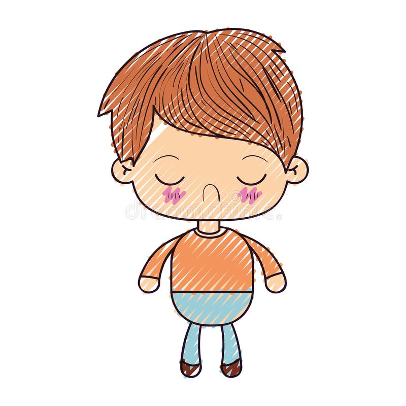 Colored crayon silhouette of kawaii little boy with facial expression disgust with closed eyes. Vector illustration stock illustration