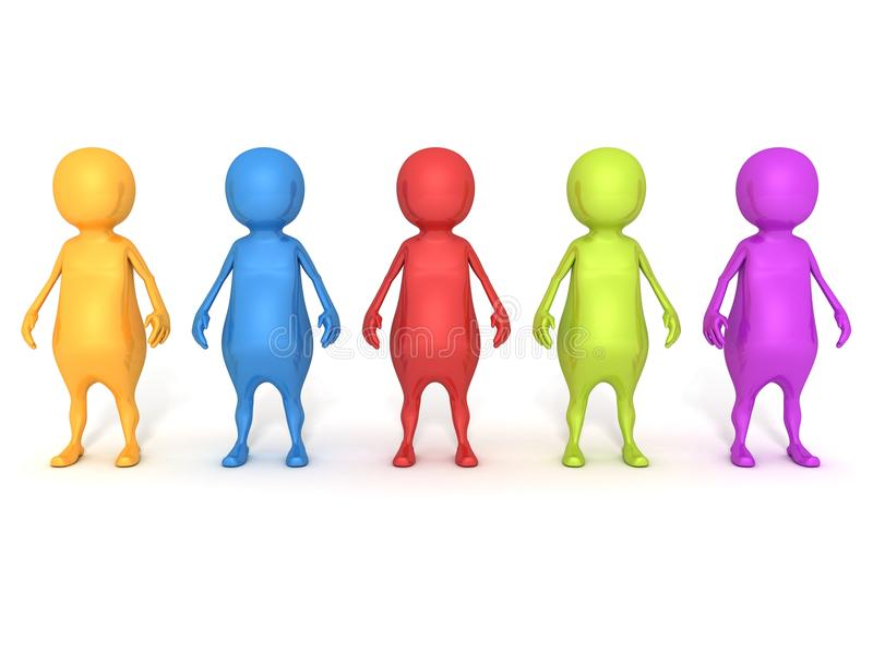 Colored 3d people team group on white background. 3d vector illustration